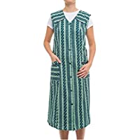Tobeni Women Smock Apron Button-Smock Long in 100% Cotton Without Arm with Pockets Colour Design 38 Size 26