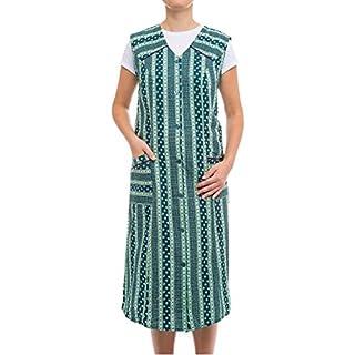 Tobeni Damen Kittelschürze Knopf-Kittel lang in 100% Baumwolle ohne Arm mit Taschen Farbe Design 38 Grösse 60