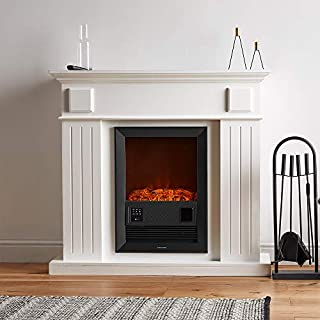 VonHaus Electric Fireplace Suite Large - 2KW with Wall Surround - 7-Day Timer, Adjustable Flame Effect, Temperature Display & 2 Heat Settings - Remote Control Included - 100 x 109 x 37 - White 2000W