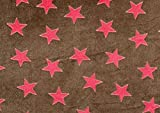 Flausch-Stoff Sterne, Meterware Braun-Pink