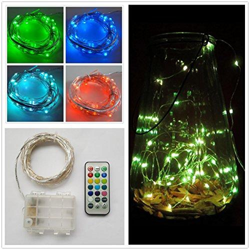 5M 50er LED Wasserdicht Flexibel Lichterkette Batteriebetrieben mit Fernbedienung, Timer-Funktion, 13 Farben, Verschiedene Funktionen Biegsamen Kette Kupferdraht für Innenbereich Außenbereich Dekoration (EchoSari)