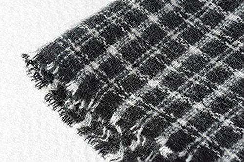 VLUNT Echarpe Longue Douce et Chaude Surdimensionnée Automne/Hiver pour Femme Foulards Tartan Châle Long Etole Filage de la laine Cadeau Noël Noir et Blanc Black