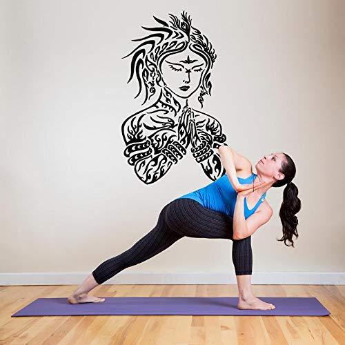 Ceciliapater adesivo da parete per camera da letto, yoga, dio indù shiva namaste, tatuaggio henné 066b