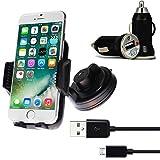 [3 in 1 Set] Premium KFZ Halterung Smartphone Handyhalterung mit 360 Grad Kugelgelenk und Power-Gel Saugnapf für Windschutzscheibe + KFZ USB Charger Ladegerät Adapter für Auto mit LED-Anzeige + Micro USB 2.0 Kabel 1 m Datenkabel Schwarz von wortek