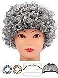 Alte Dame Kostüm Zubehör Set Oma Perücke mit Perücke Kappe, Brille, Faux Perlenketten und Brillenketten Cords Strap (Lockige Perücke)