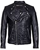 Freaky Nation Herren Jacke Crossover Echtleder, Schwarz (Black 9000), Medium