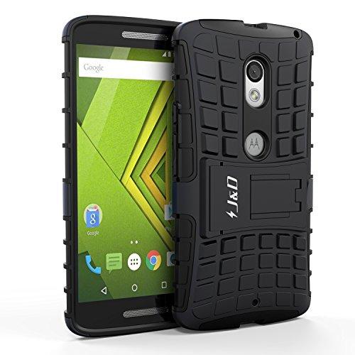 JundD Moto X Play Hülle, [Standfuß] [Doppelschicht] [Heavy-Duty-Schutz] Genaue Passform Hybride Stoßfest Schutzhülle für Motorola Moto X Play - Schwarz
