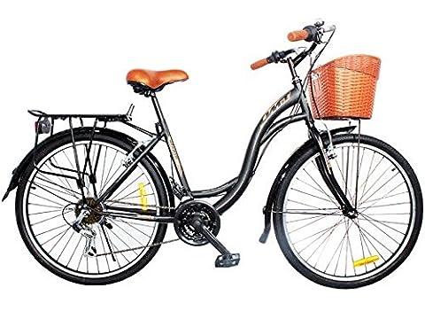 """24 zoll Mädchenfahrrad Damenfahrrad 24"""" Shimano 21 Gang 24 Zoll Fahrrad Cityfahrrad schwarz mit korbNEU"""
