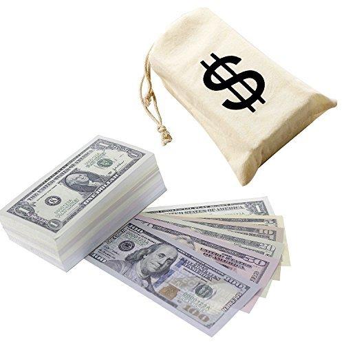 Juvale $ 9300 Im Play Money - Pretend Dollar Bills - Realistische Geld Stack - Das echt Aussehen - Kleine Rechnungen (5 x 2,5 Zoll) - 50 jeden Betrag - 300 Bills Gesamt -