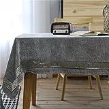 WanJiaMen'Shop Grau Luxuriöse Esstische Familie Stoffen rechteckige Tische Rund - Tischdecken Tischdecke, 130 * 250 cm.