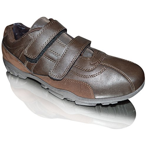 Xelay , Chaussures bâteaux homme Brown Double Velcro