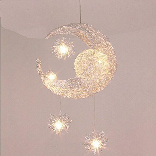 LONFENNER Creative Moon and Stars Pendelleuchte / Deckenleuchte Mond und Sterne, für Kinderzimmer, Wohnzimmer -