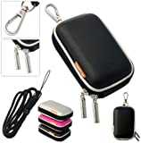 New first2savvv outdoor heavy duty black camera case for Sony DSC-W800 with black camera hand strap