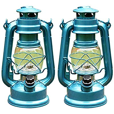 2 Hurricane Lanterns Hanging Camping Lamps with 12 White Dimmable LEDs Battery Operated by PK Green from PK Green