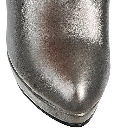 Argento Materiale Tacco Colore Zip Stivali Alta A Punta Di Miscelato Voguezone009 Donna Solido xqIwFPYF