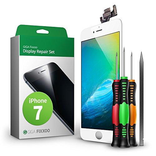 GIGA Fixxoo iPhone 7 Komplettes Display Ersatz Set Weiß, LCD mit Touchscreen, Retina Display, Kamera & Näherungssensor - Einfache Installation für Do-It-Yourself
