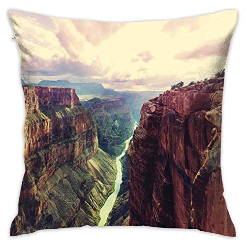 Soft Decorative Square Throw Pillow Case Cushion Covers , View Of The Canyon With Mystical Narrow Long River Line Primitive Forces Of Nature,for Livingroom Bedroom with Invisible Zipper 18X18 Inch -