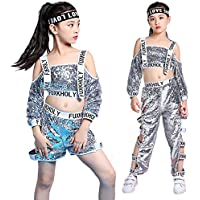 Moyuqi ™ Girls Paillettes Costumi di Danza Hip Hop Silver Red Ballroom  Modern Jazz Abbigliamento Top bd4dcc2055b0