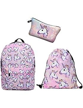 Leah's fashion® Einhörner gedruckt Reisen Sie Freizeit Rucksack mit junge Turnbeutel&Mäppchen für Kinder(3pcs/...