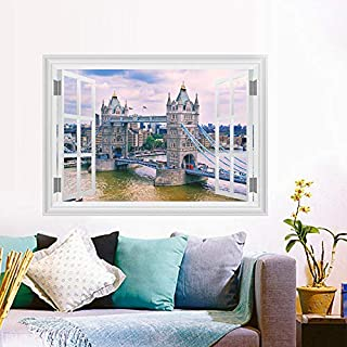 EUFJSDHF Wandaufkleber England London Tower Bridge Wall Stickers Home Decor Living Room 3D Window Architectural Landscape Wall Decals Art Mural Posters 50X70Cm