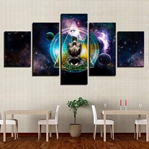 XLST Home Decor Poster Moderne Wandkunst Bilder 5 Panel Yoga Symbol Poster Buddha Buddhismus Rahmen Wohnzimmer HD Gedruckt Malerei,B,20x35x2+20x45x2+20x55x1