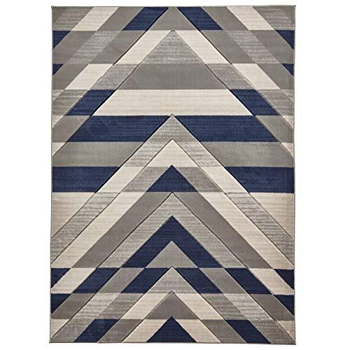 HomeLinenStore Moderne geometrische Design Durable Qualität Grau/Blau Farbe getuftet Teppich/Teppich Teppiche, Polypropylen, grau/blau, 120 x 170 cm -