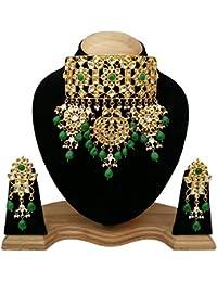 Finekraft Meena Kundan Bridal Wedding Designer Gold Plated Choker Necklace Set For Women