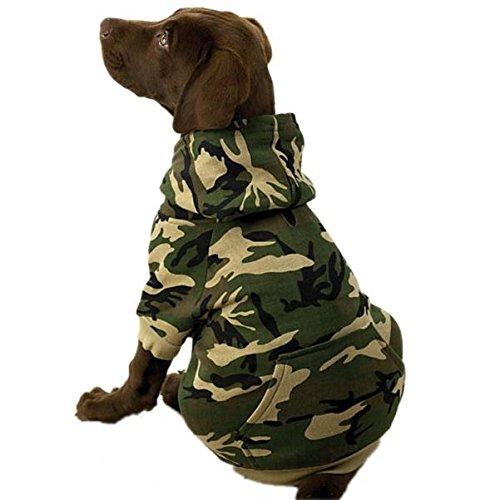 Casual Canine Hunde-Kapuzenpullover aus Baumwolle, Camouflage, XX-Large, grün -