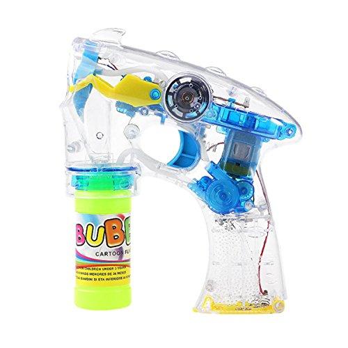 TOYMYTOY Bubble Pistole Seifenblasen Maschine Elektrische Bubble Shooter mit Lichter und Musik für Kinder (Gelb)