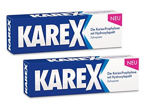 KAREX Zahnpasta 2 x 75ml - Moderner Karies-Schutz ohne Fluorid, auch bei Speichelmangel -