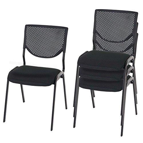 Mendler 4X Besucherstuhl T401, Konferenzstuhl stapelbar, Textil ~ Sitz schwarz, Füße schwarz