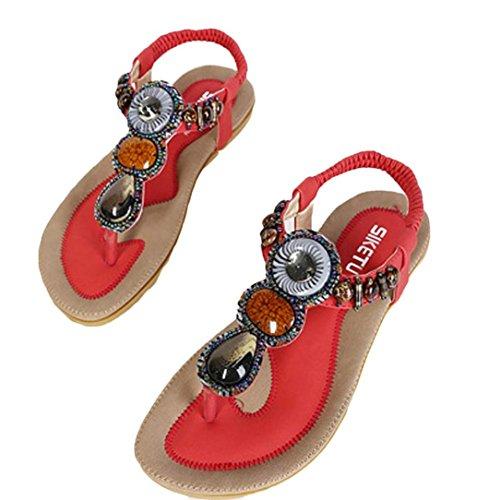 HCFKJ 2017 Mode Frauen Sommer Sandalen Flach Fashion Sandalen Komfort Ladies Shoes Rot
