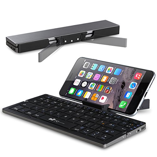 Faltbare Bluetooth Tastatur EC Technology Portable Kabellose Wireless Mini Keyboard mit Stand Ultra kompakt Wiederaufladbar kompatibel mit Android Windows iOS, Farbe - Schwarz