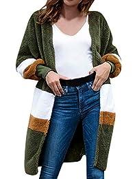 beautyjourney Cárdigan de Terciopelo de Invierno Mujer Abrigo de Patchwork de Manga Larga con Cuello Redondo