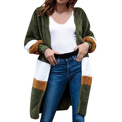 iHENGH Damen Mantel Top,Women Winter Arctic Velvet Round Neck Long Sleeve Long Stitching Jacket Strickjacke Tops (Grün,EU-38/CN-L)