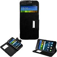 Donkeyphone 599371031 - flip cover negra para huawei y635 funda con ventana, tapa, apertura libro, cierre con iman y soporte