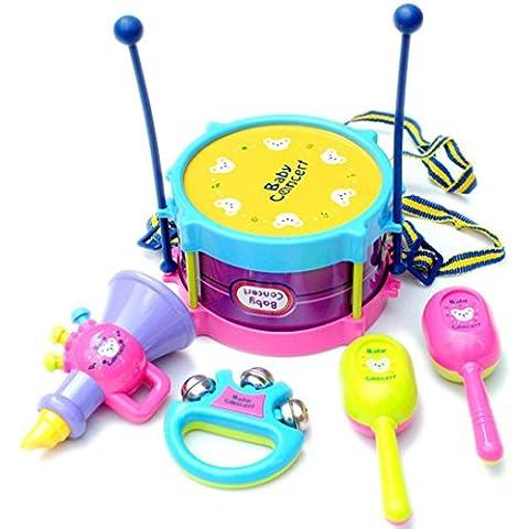 Toraway Bebés y Niños redoble de tambor Instrumentos Musicales Band kit de juguetes educativos para niños