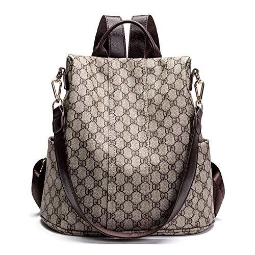 Ldyia zaino da donna, zaino multi-tasca, gd versatile, multiuso, stampa casual, zaino anti-furto, grigio