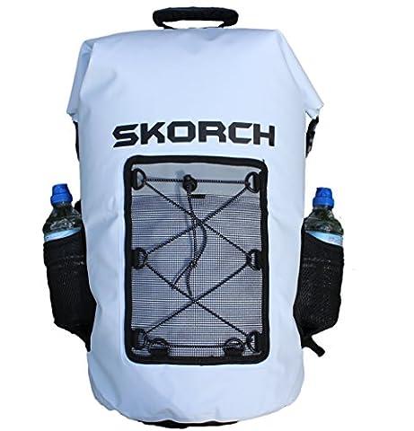 SKORCH Waterproof Backpacks, Dry Bags and Duffel Bags (White 40L Waterproof Backpack with Pockets)