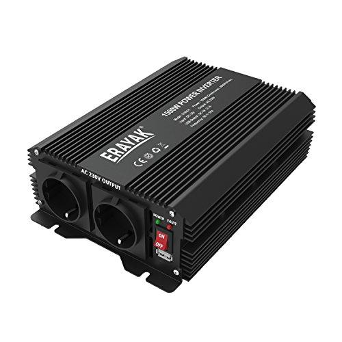 Erayak 1500W Wechselrichter TÜV Zertifiziert, DC 12V auf AC 230V Spannungswandler, Konverter mit 2 EU Buchse, 2.1A USB Ports, Autobatterieclips& Krokodilklemmen Kabel