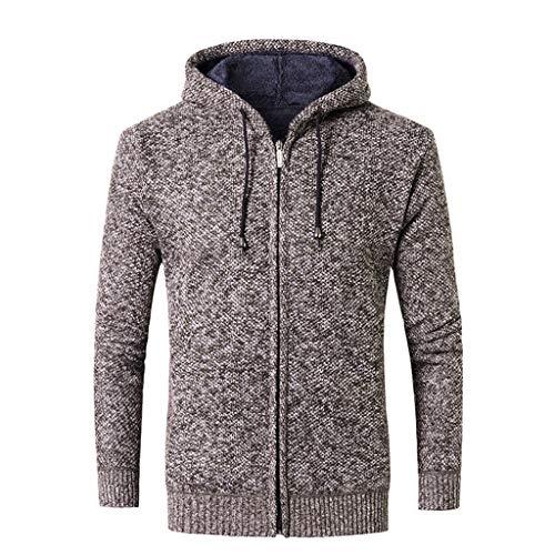 Lihua Herren Pullover Chunky Knit Pullover Funnel Neck Hergestellt aus 100% Baumwolle (Farbe : Braun, größe : M) Mens Funnel Neck Jacket