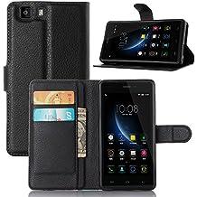 Funda Doogee X5,Vikoo(7 colores)Tapa de Cuero de La PU Case de la Cartera con Ranuras para Tarjetas Incorporadas para Doogee X5 Smartphone PU Textura Lichi Case - Negro