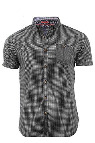 Herren Short Sleeve Gingham Check Baumwolle Shirt S-XXL (Clemens) von Brave Soul Schwarz - Schwarz