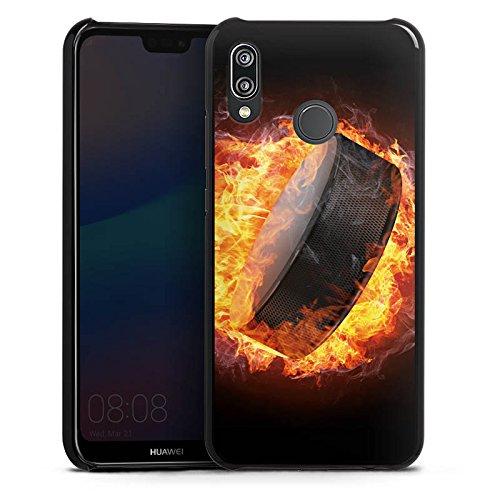 DeinDesign Hülle kompatibel mit Huawei P20 Lite Handyhülle Case Eishockey Flammen Slapshot