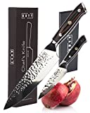 Kutt Vacuum Treated Hammered Premium VG-10 Gyutou Chef Knife, Razor Sharp 8 Inch Cooking Knife for Inch Perfect Precision, Japanese Damascus Stainless Steel, German Design