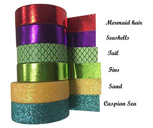Mermaid Inspired glitter foil e scala di pesci stampa Washi-ogni 10m lungo-ideale per diario, fai da te, scrapbooking, realizzazione di biglietti,