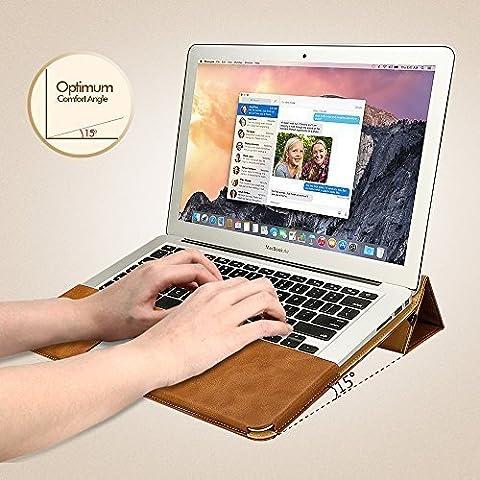 Jisoncase ELEGANT Macbook Air 13 Zoll Hülle Ständer-Design Ultrabook Laptop Tasche Case für Apple Notebook in braun