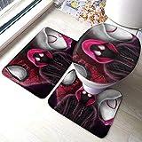 Superhero Spiderman - Tapis antidérapant pour salle de bain - Ensemble de 3 pièces - Tapis antidérapant confortable et doux + Tapis de toilette + Tapis de contour, Tapis absorbant l'eau