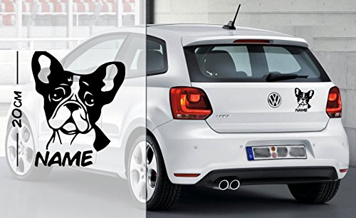 Französische Bulldogge #1   Tier   Wunschtext   Auto Aufkleber   Hund