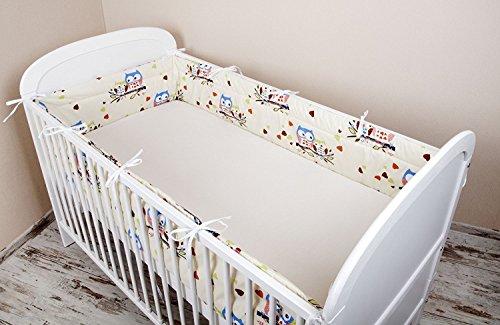 Bettumrandung Nest Kopfschutz Nestchen 420x30cm, 360x30cm, 180x30 cm Bettnestchen Baby Kantenschutz Bettausstattung Eule Ecru/Blau Groß (420x30cm)